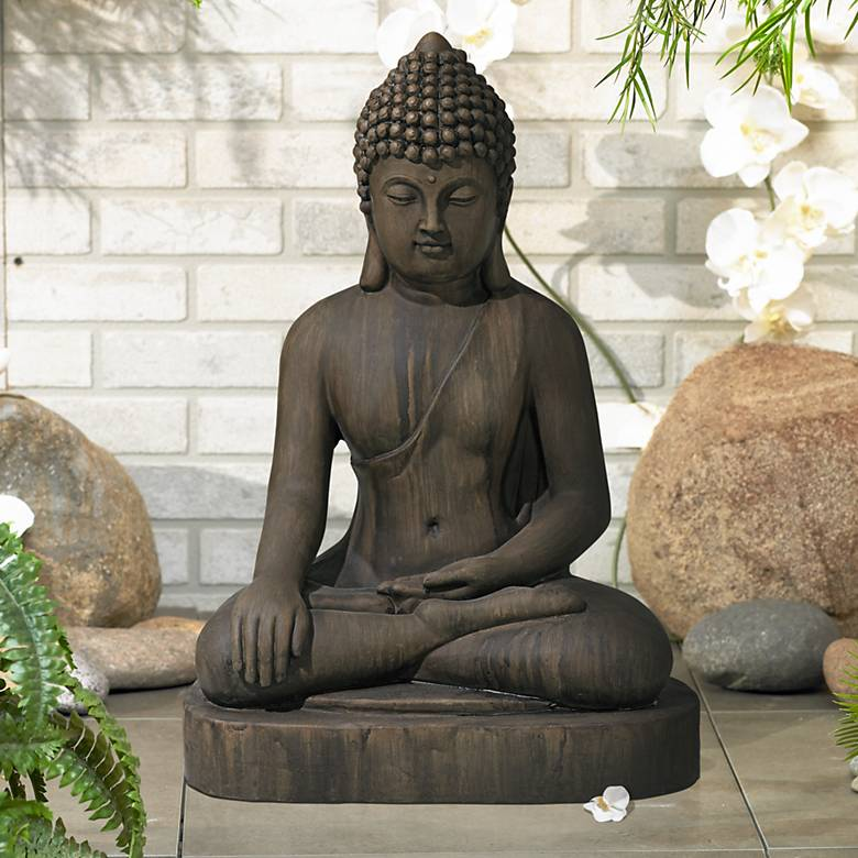 "Sitting Buddha 29 1/2"" High Dark Sandstone Outdoor Statue"