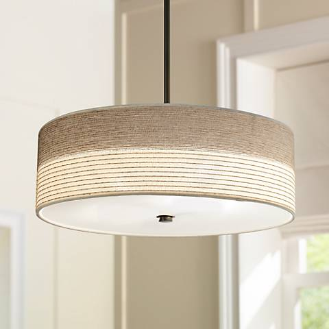 Fabric Shade With Bronze 20 Wide Pendant Light