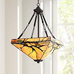 "Tiffany Style Budding Branch 27"" High Glass Pendant Light"