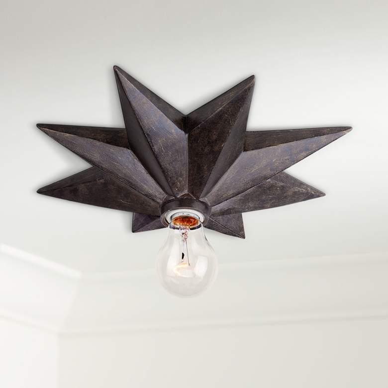 "Crystorama Astro 12"" Wide Bronze Ceiling Light Fixture"