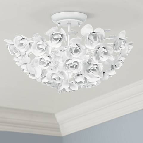 Crystorama cypress 18 wide white rose ceiling light fixture crystorama cypress 18 wide white rose ceiling light fixture aloadofball Images
