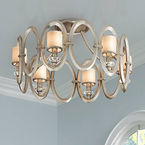 "Corbett Embrace 24 1/2""W Satin Silver Leaf Ceiling Light"