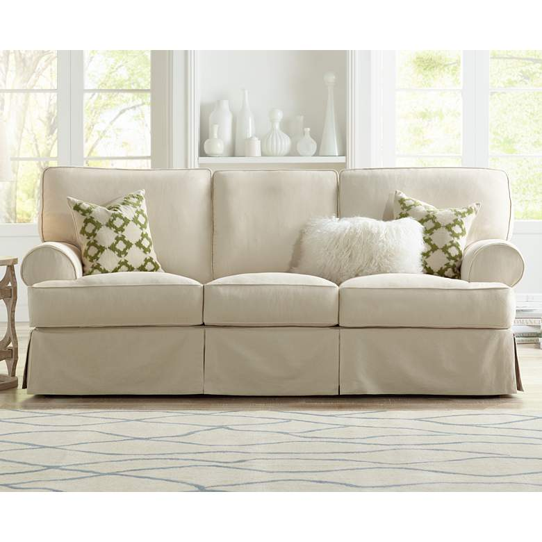 Stupendous Rachel Classic 87 Wide Natural Slipcover Sofa Bralicious Painted Fabric Chair Ideas Braliciousco