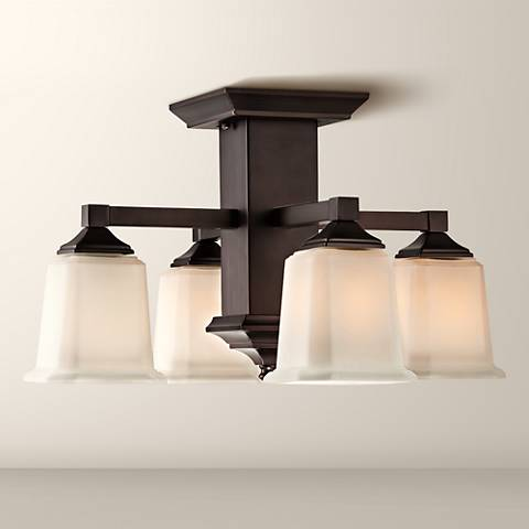 "Quoizel Norwood Semi-Flush 19"" Wide Bronze Ceiling Light"