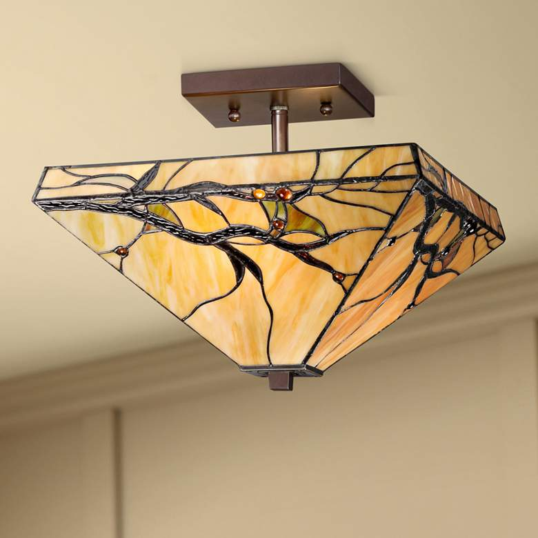 "Budding Branch 14"" Wide Tiffany Style Ceiling Light"