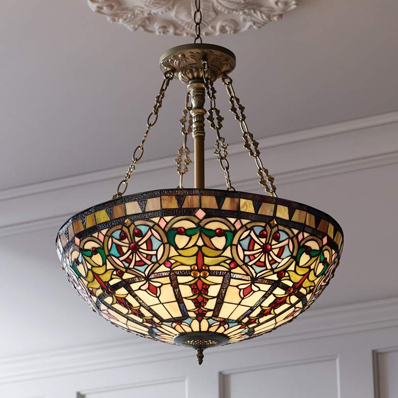 "Ornamental Tiffany-Style 24"" Wide Art Glass Pendant Light"