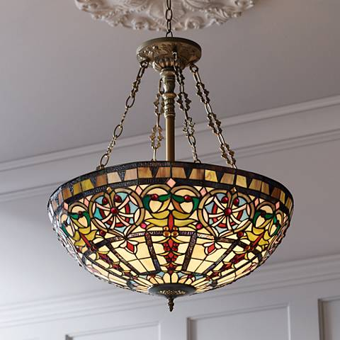 Ornamental tiffany style 24 wide art glass pendant light w3315 ornamental tiffany style 24 wide art glass pendant light mozeypictures Images