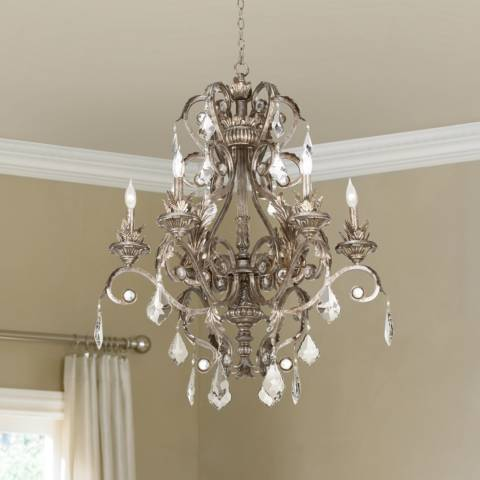 Kathy Ireland 30 Quot Wide Metallic Silver Chandelier W5304