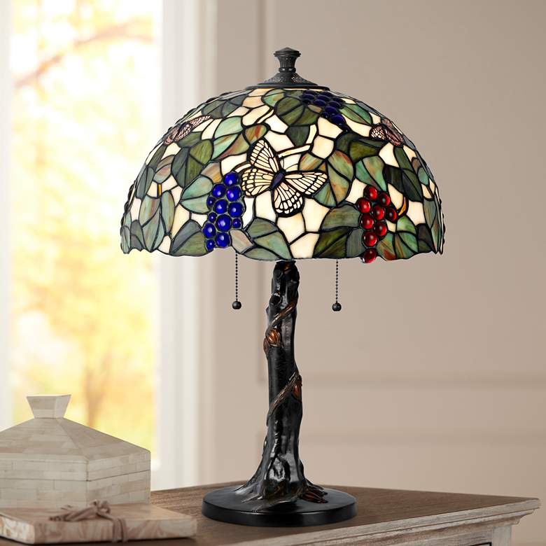 Fruit Tree Tiffany Style Dark Bronze Table Lamp