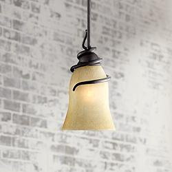 "Swirled Iron 12"" High Bronze Mini Pendant Light"