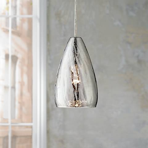 "Possini Euro Portico 5"" Wide Crackle Glass Mini Pendant"