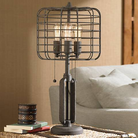 Industrial cage edison bulb rust metal table lamp w6747 lamps plus aloadofball Gallery