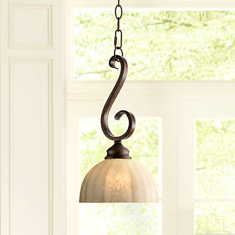 "Ferro 8"" Wide Iron Scroll Mini Pendant Light"
