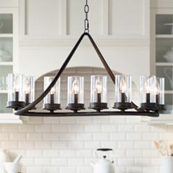 "Heritage 44""W Bronze 10-Lt Kitchen Island Light Chandelier"