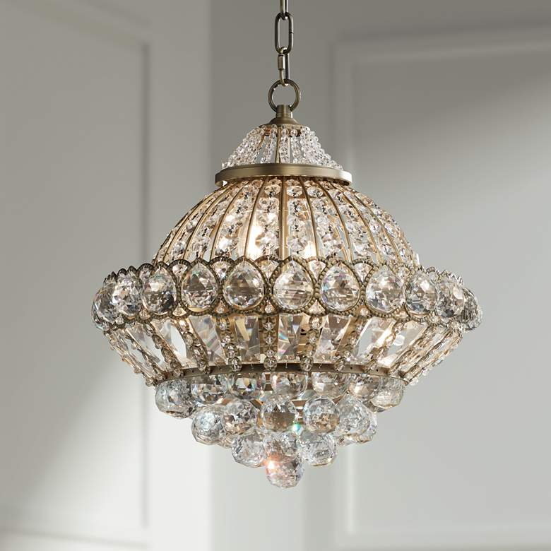 "Wallingford 16"" Wide Antique Brass Crystal Chandelier"