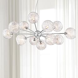 "Possini Euro Wired 32"" Wide Glass and Chrome Chandelier"