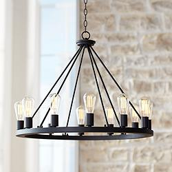 "Lacey 28"" Wide Round Black 12-Light Wagon Wheel Chandelier"