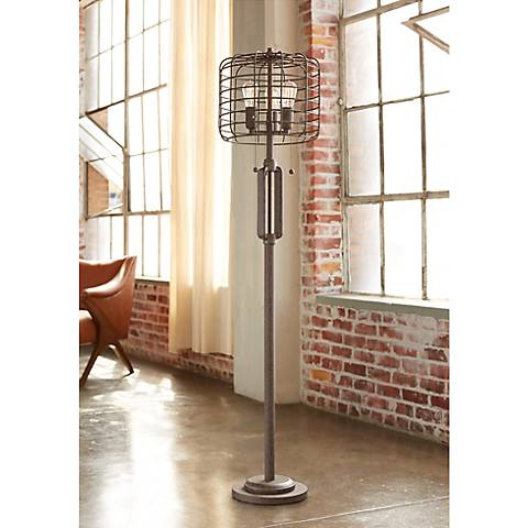 "Industrial Cage 65"" High Metal Floor Lamp with 7W LED Bulbs"