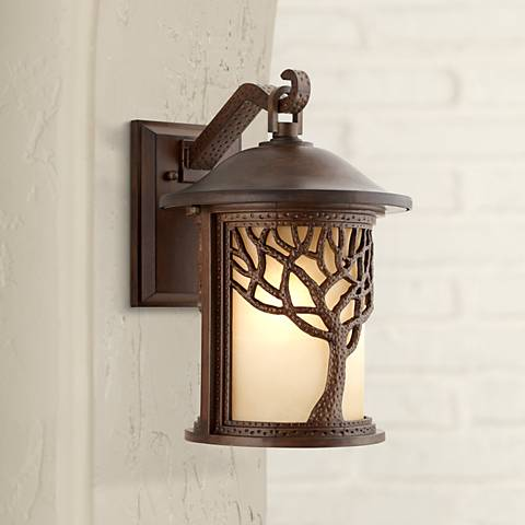 "Bronze Mission Style Tree 15"" High Outdoor Wall Light"