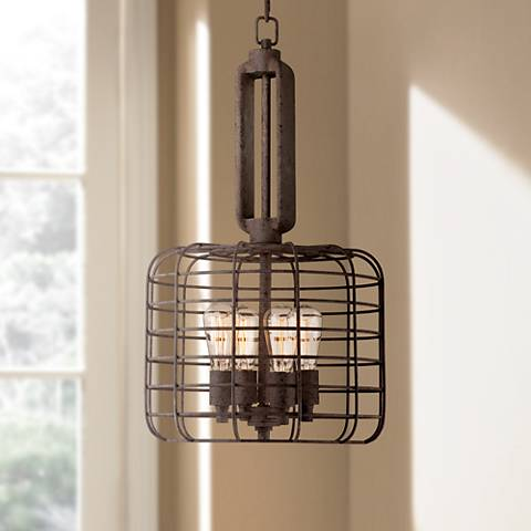 Industrial cage 14 12 wide rust metal pendant light w8377 industrial cage 14 12 wide rust metal pendant light mozeypictures Images