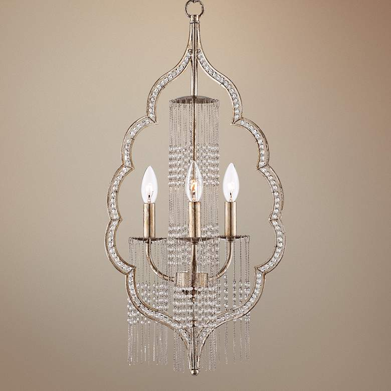 "Scalloped Teardrop 26 3/4"" High Silver Chandelier"