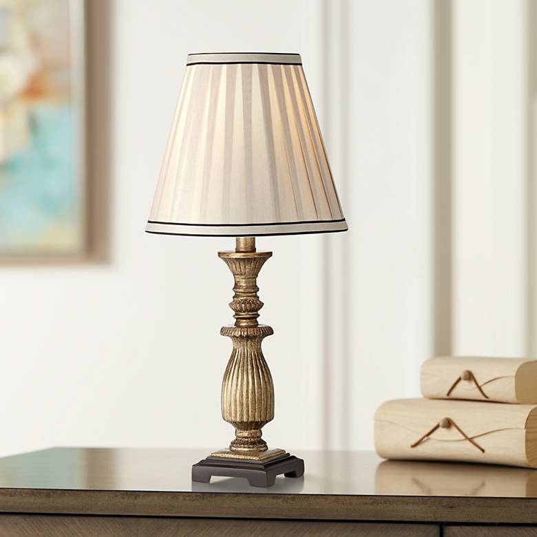 "Ribbed 18"" High Antique Gold with Pleat Shade Accent Lamp"