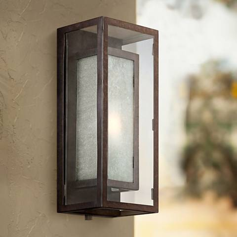 "Possini Euro Double Box Bronze 15 1/2""H Outdoor Wall Light"