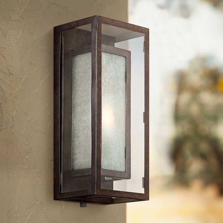 "Double Box 15 1/2"" High Frosted Glass and Bronze Wall Light"