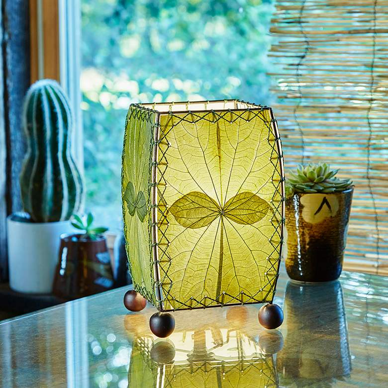 "Eangee 8"" high Mini Square Green Accent Lamp"