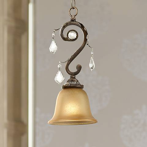 "Kathy Ireland Ramas de Luces 6 1/2"" Wide Bronze Mini Pendant"