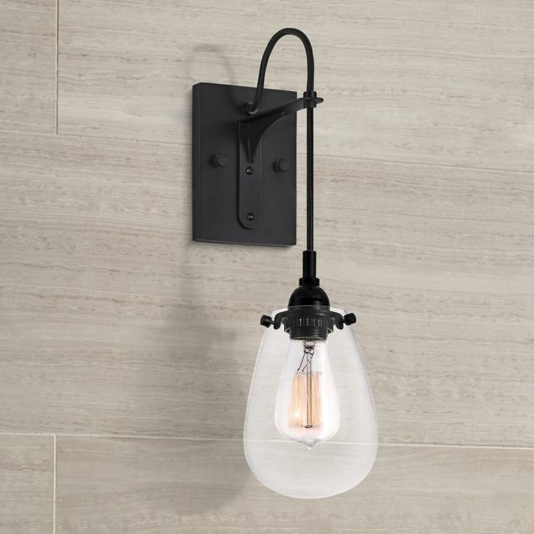 "Sonneman Chelsea 14"" High Satin Black Edison Sconce"