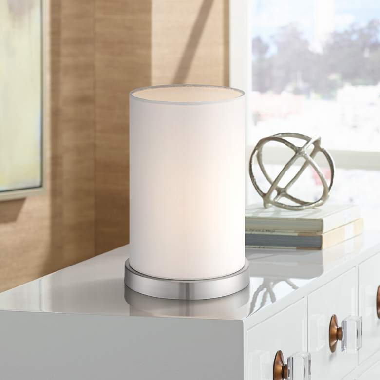 "White Cylinder 10 1/2""H Accent Table Lamp by 360 Lighting"