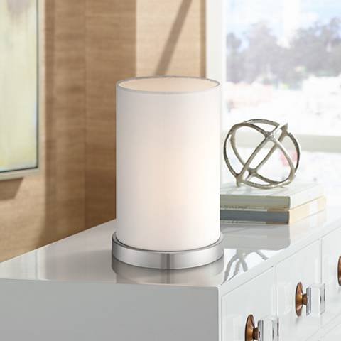 "White Cylinder 10 1/2"" High Accent Lamp by 360 Lighting"