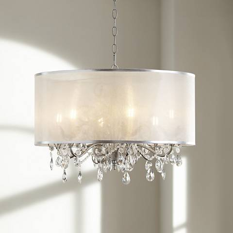 Possini Euro Farina 23 Quot Wide Organza Silver Pendant Light