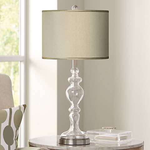 Sesame Faux Silk Apothecary Clear Glass Table Lamp