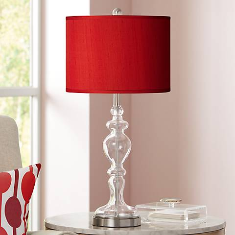 China Red Textured Silk Apothecary Clear Glass Table Lamp
