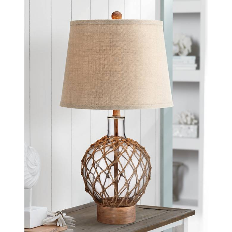 Lampa Plus: Rope And Glass Jug Table Lamp - #X0316