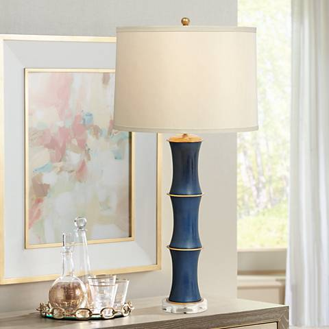 Rivoli Navy Porcelain Table Lamp