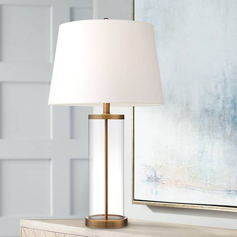 Glass and Gold Cylinder Fillable Table Lamp