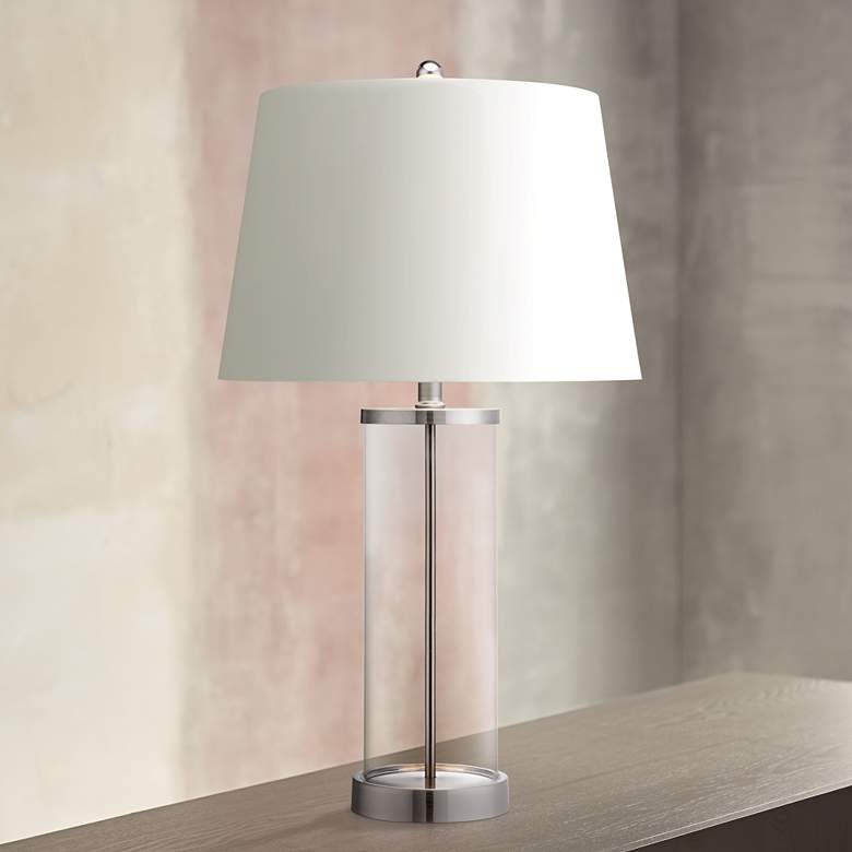 Glass and Steel Cylinder Fillable Table Lamp