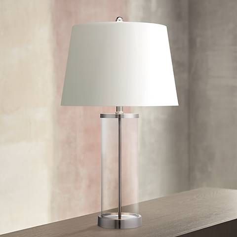 Glass And Steel Cylinder Fillable Table Lamp X1219