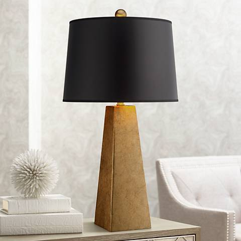 Possini Euro Design Gold Leaf Obelisk Table Lamp