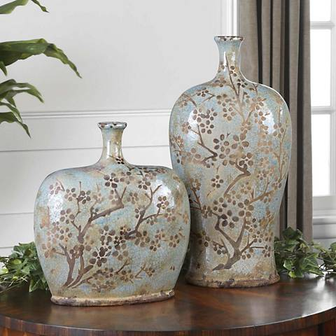 Set of 2 Uttermost Citrita Decorative Ceramic Vases