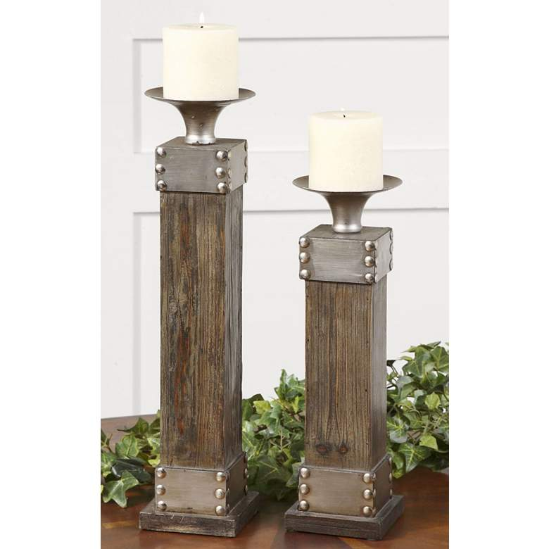 "Lican 18"" High Rustic Westen Style Candle Holders Set of 2"