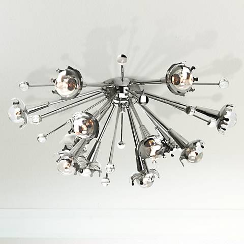 "Jonathan Adler 24""W Nickel Sputnik Ceiling Light"