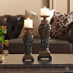 Flora Carved Wood Finish Pillar Candle Holders - Set of 2