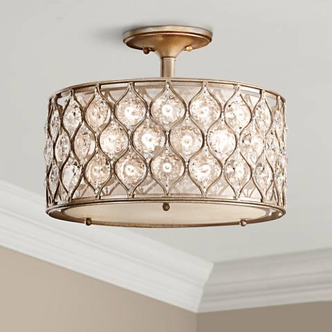 Feiss lucia 16 wide crystal glass ceiling light