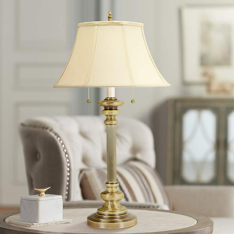 House Of Troy Newport 2 Light Antique Br Table Lamp