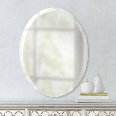 "Feiss Infinity 28"" High Frameless Oval Wall Mirror"