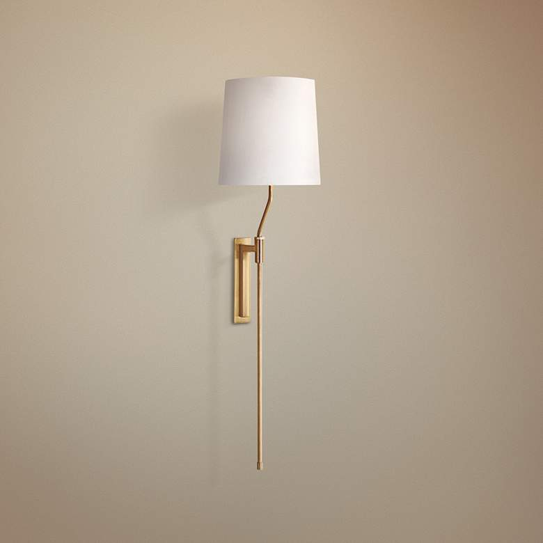 Sonneman Palo Satin Brass Adjustable Plug-In Wall Lamp